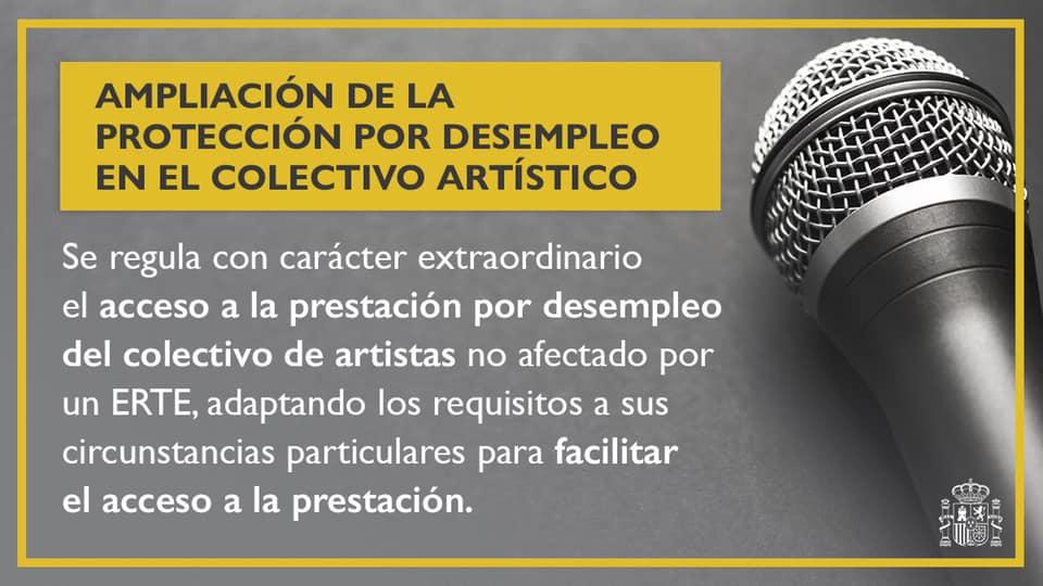 El Gobierno aprueba una prestación para los artistas no protegidos por los ERTE